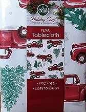 Winter Wonder Lane Vinyl Tablecloth, Red Truck Christmas Tree Farm Design, Eco Friendly PEVA, Flannel Backed (52x52)