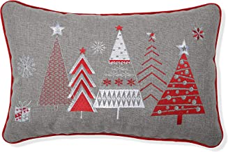 Pillow Perfect Christmas Star Topped Trees Embroidered Welt Cord Lumbar Decorative Pillow, 12 x 18, Red, Gray, White