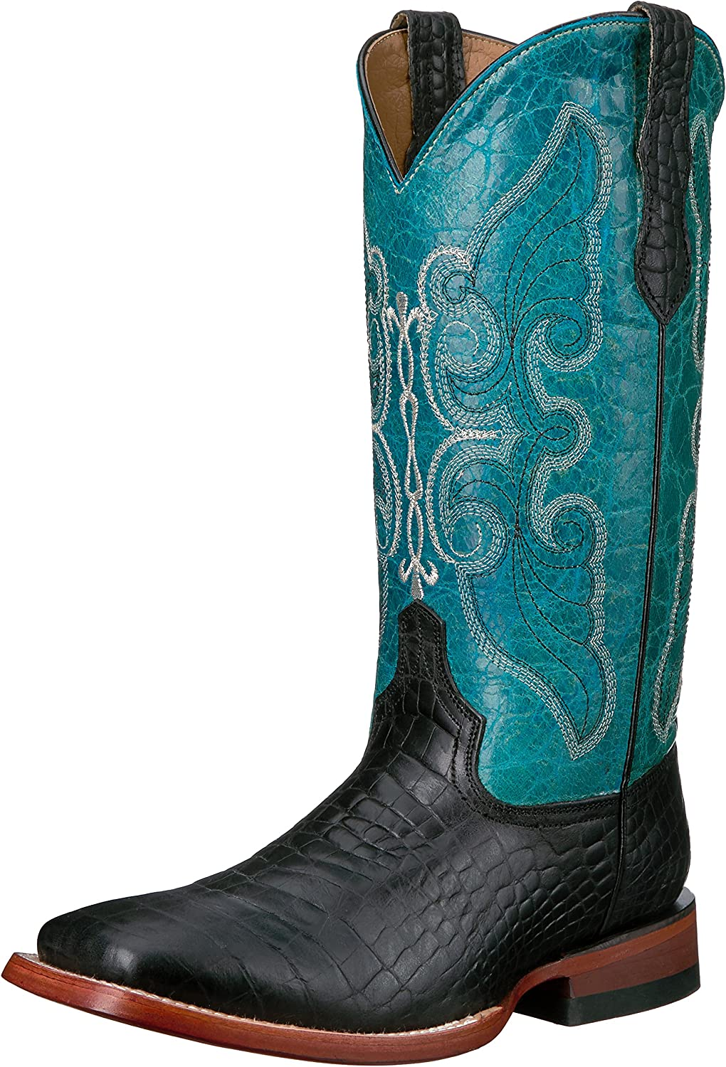 Ferrini Womens Ladies Print Belly Black Square Toe Western Boot