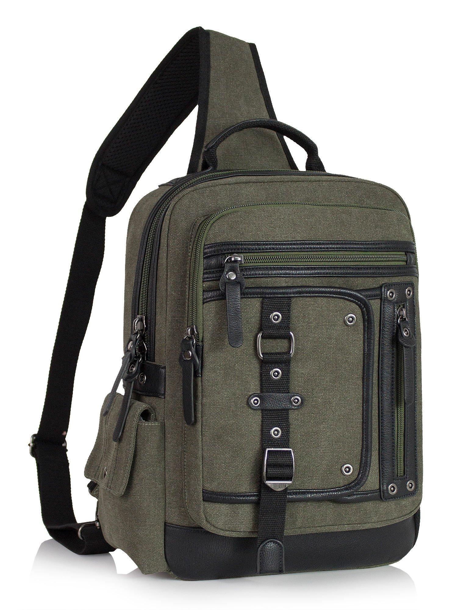 AiLike Canvas Messenger Bag Satchel Pack Crossbody Shoulder Bag for Travel Camping Working School Dark Blue