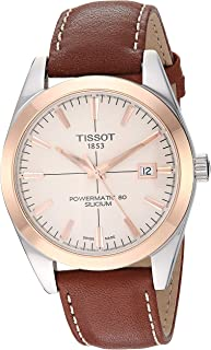 Mens Gentleman Swiss Automatic Stainless Steel Dress Watch (Model: T9274074626100)
