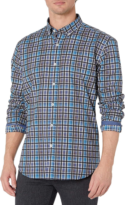 Bugatchi Men's Long Sleeve Button Down Shaped Woven