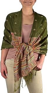 Ethnic Design Tribal Border Reversible Bohemian Pashmina Shawl Scarf Stole Wrap