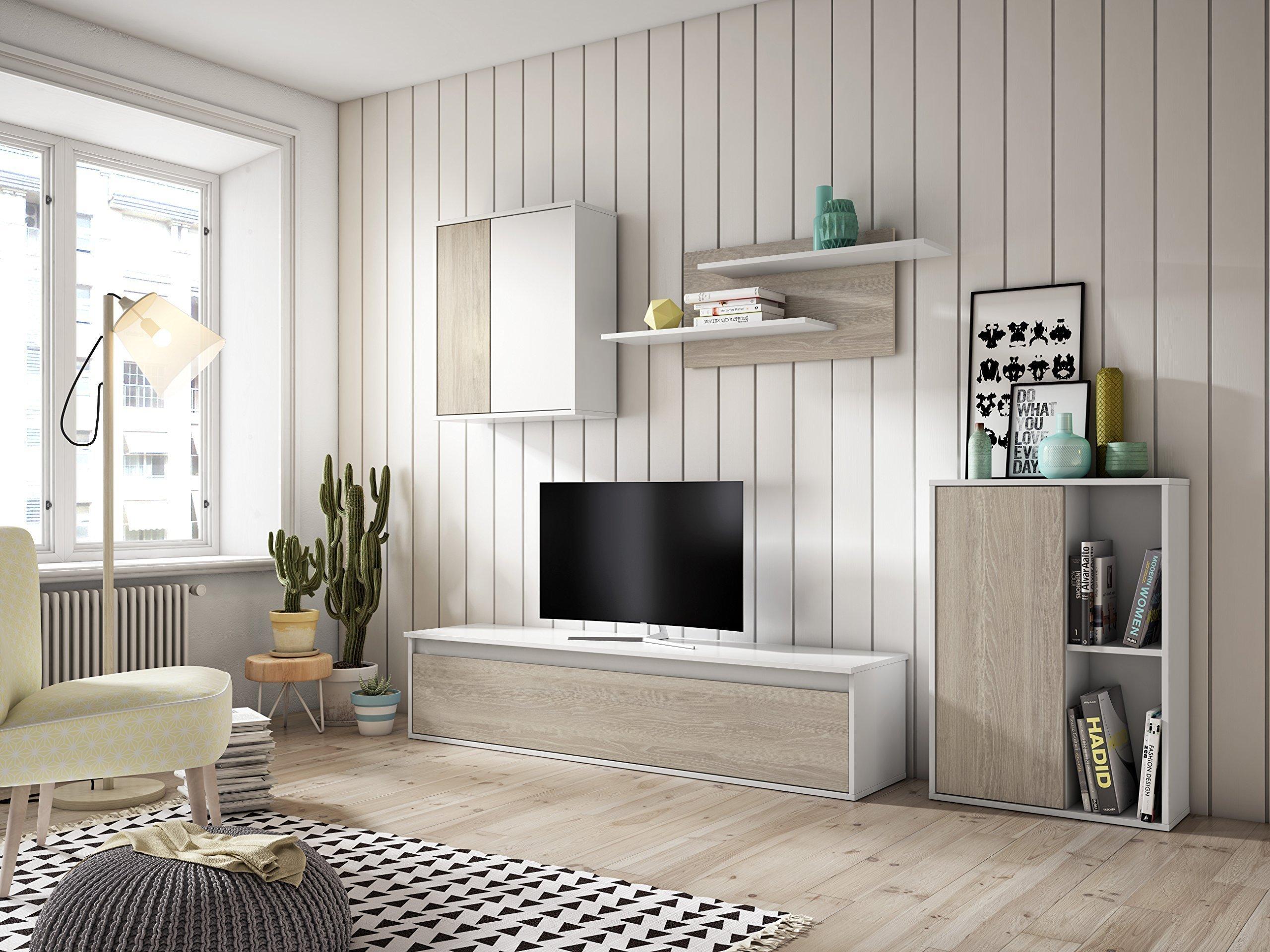 Muebles Place-Salón Comedor Moderno Tex/Mueble TV de 160 cm/Color Blanco y Roble/Modulos Que posibilitan el Libre Montaje: Amazon.es: Juguetes y juegos