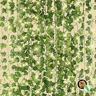 BOMAROLAN 12 Strands/Total 84 Feet, Artificial Ivy Garland Green Leaf, Vine Hanging Plants Fake Foliage, with 100 LED Stri...