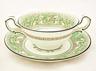 Wedgwood Florentine Green Footed Cream Soup Cup & Saucer / Bouillon Cup