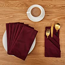 Deconovo Soft Jacquard Damask Dinner Cloth Napkins with Bamboo Leaves Patterns 18 x 18 inch Stain and Spillproof Smooth Luxury Serviette for Banquets, Weddings, Family Gatherings Set of 6 Burgundy