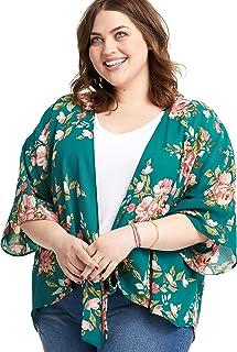 Plus Size Short Sleeve Tie Front Kimono