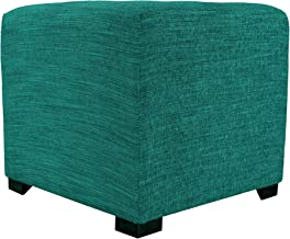 MJL Furniture Designs Upholstered Cubed/Square Lucky Series Ottoman, 17 x 19 x 19, Turquoise