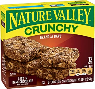 Nature Valley Crunchy Granola Bars, Oats 'n Dark Chocolate, 21g (Pack of 12)