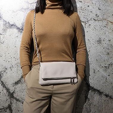 SH Leder Echtleder Umhängetasche Clutch kleine Tasche Abendtasche 26x14cm Mia G389