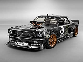 Ford Mustang by Ken Block (1965) Car Art Poster Print on 10 mil Archival Satin Paper Black Front Side Studio View 36