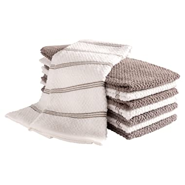 KAF Home Pantry Piedmont Terry Kitchen Towels | Set of 8, 16 x 26 inch, Absorbent Terry Cloth Dish Towels, Hand Towels, Tea Towels | Perfect for Kitchen Spills, Cooking, and Messes - Dark Gray