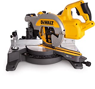 Dewalt DCS777T2-GB XR Flex Volt Cordless Brushless Mitre Saw with 2X DCB546 Batteries and Fast Charger, 54 V, Yellow/Blac...
