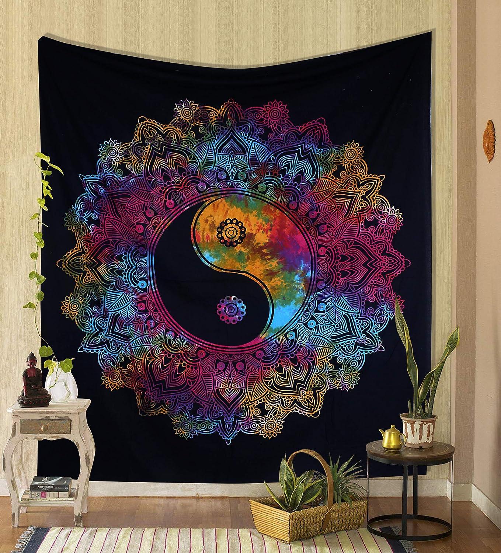 Indian Bohemian Cotton Poster Black Yin Yang Room Decor Wall Hanging Tapestry