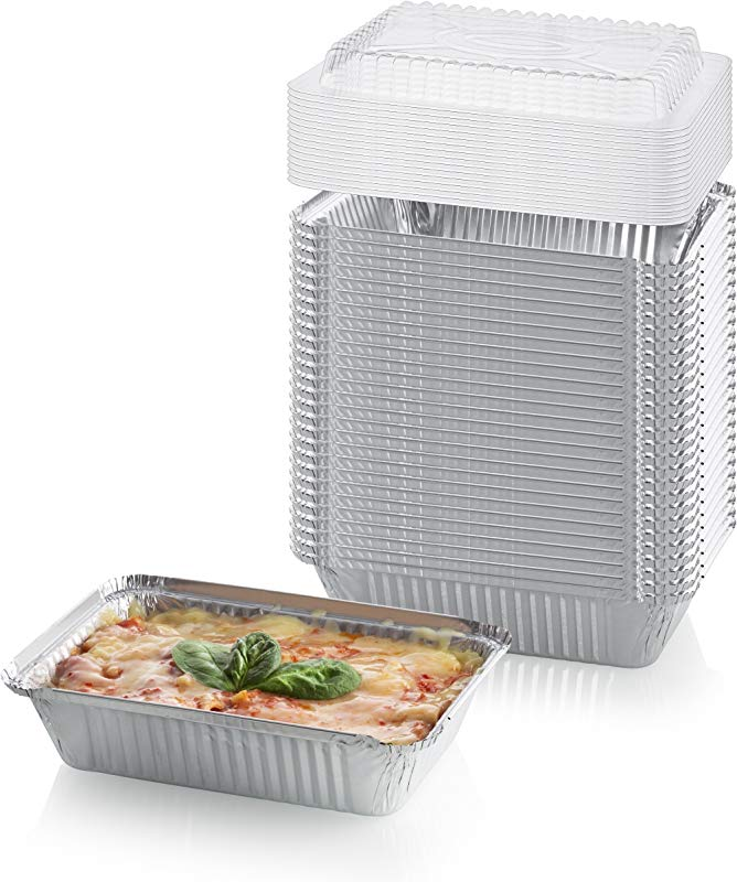 25 Pack Heavy Duty Disposable Aluminum Oblong Foil Pans With Palstic Lid Covers 100 Recyclable Tin Food Storage Tray Extra Sturdy Containers For Cooking Baking Meal Prep Takeout 5 Lb 9 X 7