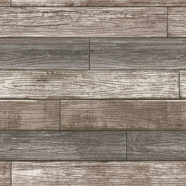 Rare NuWallpaper NU3130 Peel Charlotte Mall Stick Reclaimed Wood Pee Plank Natural