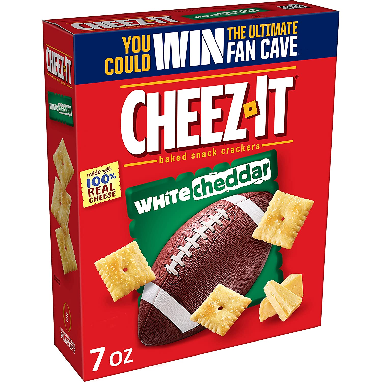 Cheez-It Cheese Crackers, Baked Snack Crackers, Office and Kids Snacks, White Cheddar, 7oz Box (1 Box)