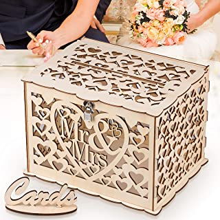 GLM Wedding Card Box with Lock Holds up to 300 Cards DIY Card Sign Hollow Wooden Gift Card Box Money Box Holder for Wedding Reception Anniversary Shower Rustic Wedding Decorations Birthday Graduation