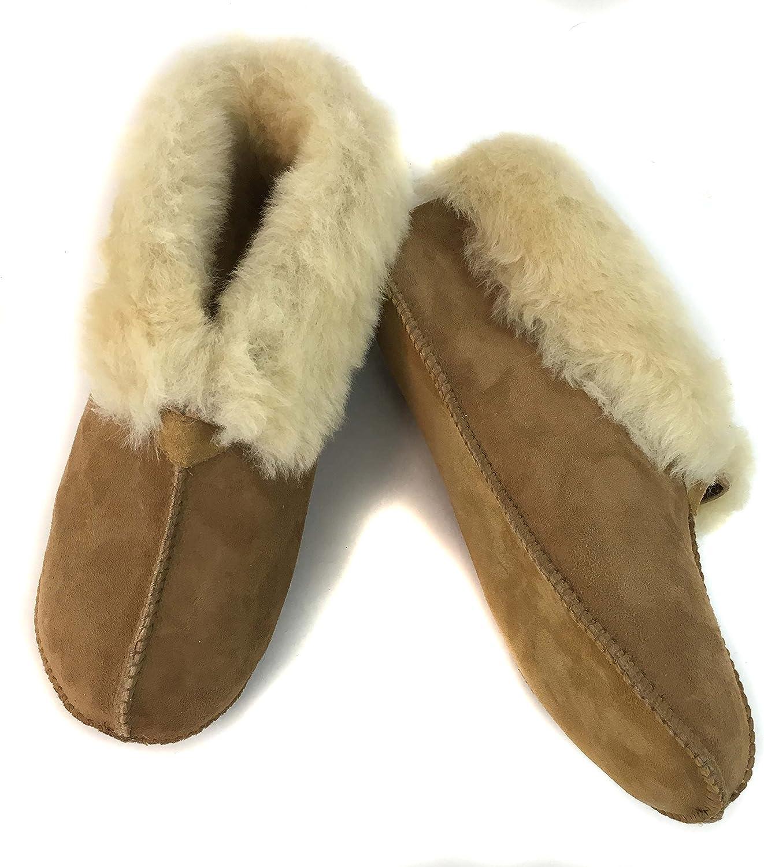 Surell Womens Genuine Shearling Slip On Soft Sole Moccasin - Sheepskin Comfort Slippers Tan