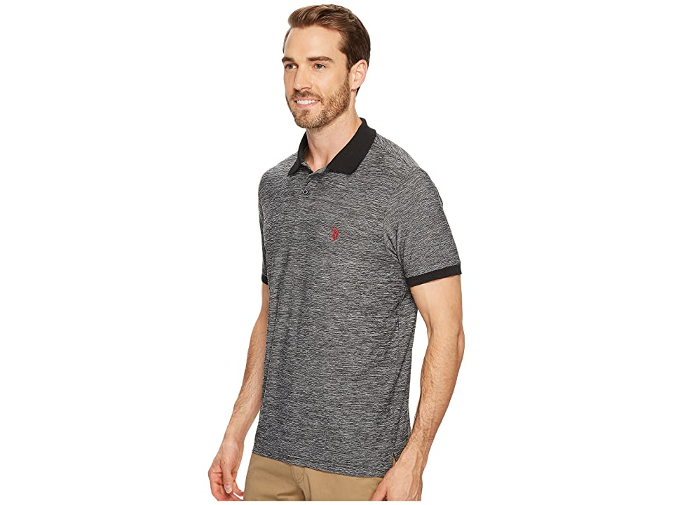 U.S. POLO ASSN. Classic Fit Solid Short Sleeve Poly Pique Polo Shirt (Black) Men's Short Sleeve Pullover