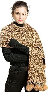 REEMONDE Womens Leopard Print Cashmere Blend Super Soft Large Pashmina Shawl Wrap Scarf With Faux Fur Pompoms