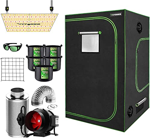 """high quality VIVOSUN 60""""x60""""x80"""" Mylar Hydroponic Grow Tent Complete Kit with 6 Inch Inline discount wholesale Duct Fan Combo Ventilation System, VS4000 LED Grow Light, Glasses, Grow Bags, Trellis Netting outlet online sale"""
