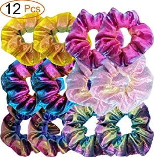 CELEVO 12 Pieces Shiny Metallic Scrunchies Mermaid Sparkle Scrunchy Colorful Hair Elastic Ponytail Holder for Girls and Women