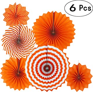 Orange Fall Party Hanging Paper Fans Party Ceiling Hangings Thanksgiving Wedding Engagement Bridal Shower Baby Shower Birthday Party Decorations, 6pc