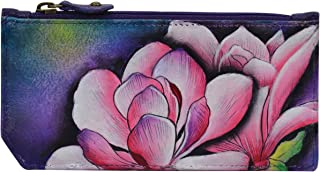 Anuschka Hand Painted Leather Women's RFID Blocking Card CASE with Coin Pouch