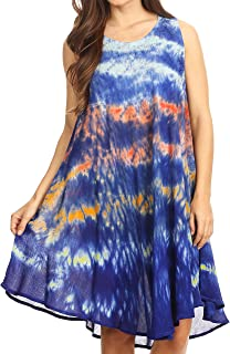 Sakkas Nora Sleeveless Embroidered Short Tie Dye Caftan Dress/Cover Up