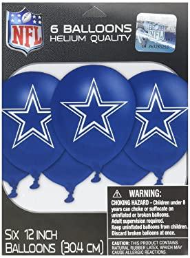 """amscan Party Decoration Dallas Cowboys Collection Printed Latex Balloons, 6 Ct. 