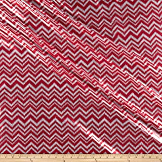 Sportek International Shaky Metallic Chevron Spandex Fabric, Red/White, Fabric By The Yard