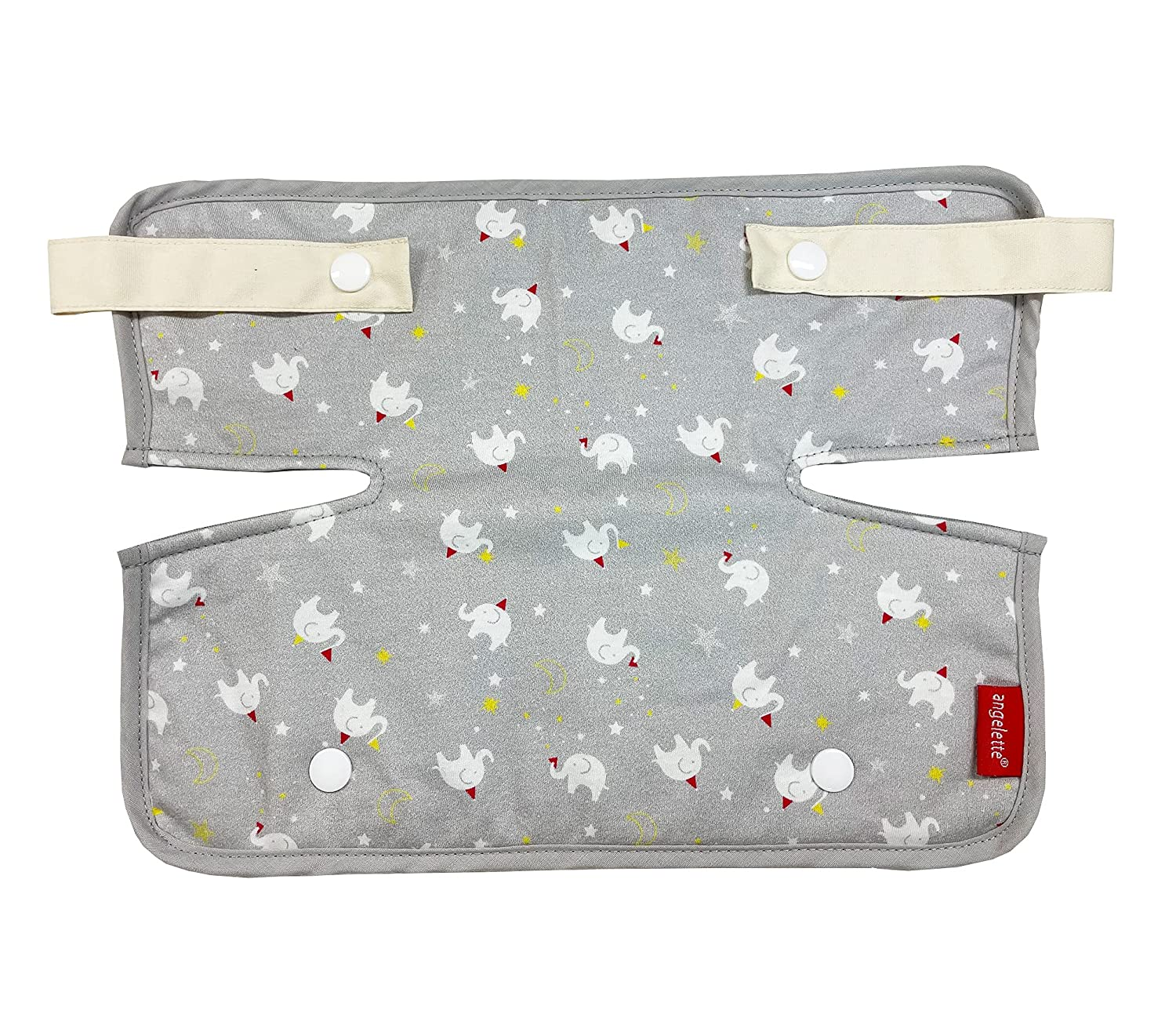 Drool and Teething Cotton Pad Chest Cover for Baby Carrier Chest Bib (Gray Elephant)