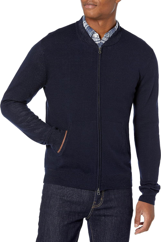 Goodthreads Austin Mall Men's Topics on TV Lightweight Merino Bomber Wool Acrylic Sweater