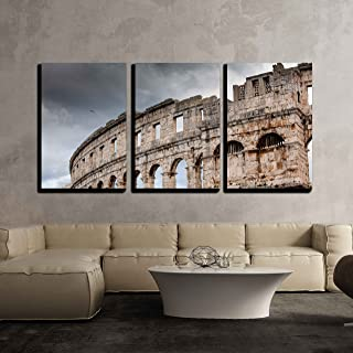 wall26 - 3 Piece Canvas Wall Art - Roman Colosseum in Pula, Croatia - Modern Home Decor Stretched and Framed Ready to Hang - 24