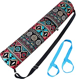 Yoga Mat Bag with 1 Carrying Strap/Exercise Yoga Mat Carry Bag with Storage Pockets for Women/Men, Canvas Vintage Aztec Tribal Style Printing /Durable Easy Full Zipper/Adjustable Shoulder Strap