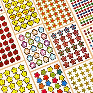 Smile Face Star Stickers for Teachers and Kids Mega Value Pack,5370 Reward Stickers for Teachers Incentive Stickers for Teacher Supplies Motivational Stickers,Homeschool Stickers, Including Smiley Face Star Heart Apple Stickers