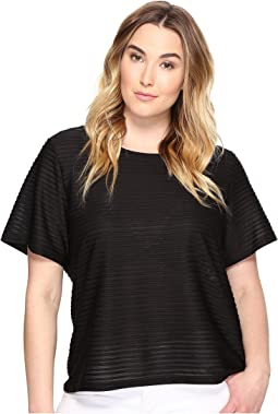 Plus Size Short Sleeve Sheer Stripe Top