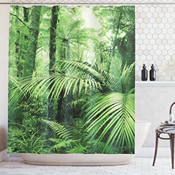 Stampa Personalızzato ABAKUHAUS Foresta Pluviale Tenda da Doccia 175 x 200 cm Verde Gli Alberi di Palme e Le Piante Esotiche nella Giungla Tropicale Tema