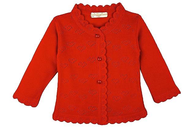 396e5dd1c77 Lilax Baby Girls  Little Hearts Knit Cardigan Sweater