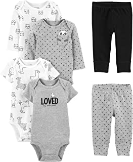 Baby 6-Piece Neutral Bodysuits (Short and Long Sleeve) and Pants Set