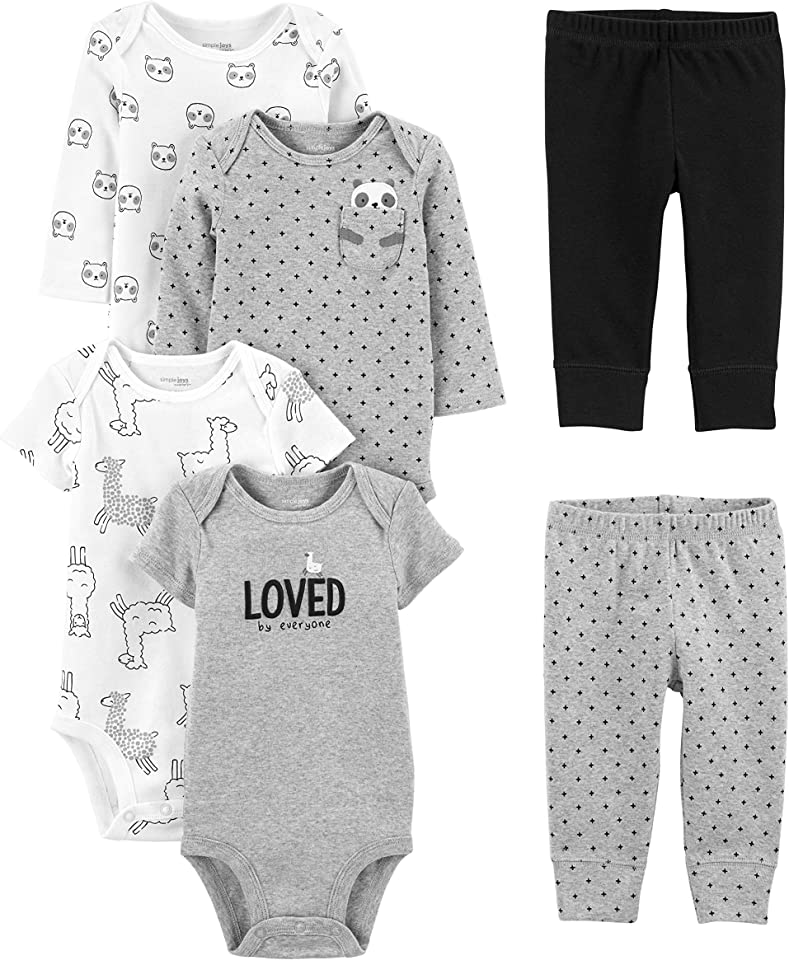 Unisex Baby Bodysuits and Leggings Set, Pack of 6