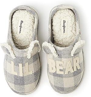 Dearfoams Buffalo Plaid Auntie Bear womens Slipper