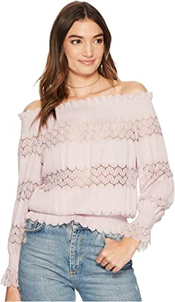 J.O.A. - Smocked Off the Shoulder Knit Lace Top