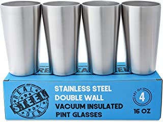 Stainless Steel Pint Glasses: Double Wall Vacuum Copper Insulated Metal Cups to Keep Drinks Cold or Hot - Rimless, Sweat Free Beer Tumbler for Cocktails, Coffee, Smoothies & More, Set of 4, 16 oz