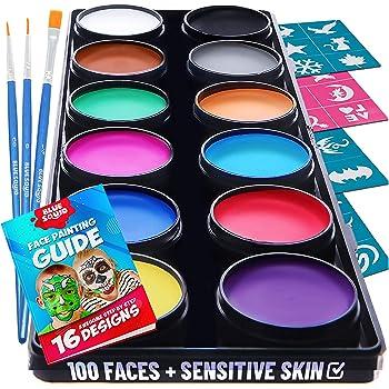 Blue Squid Face Paint Kit for Kids – 30 Stencils, 12 Large Washable Paints, 3 Brushes, Safe Facepainting for Sensitive Skin, Professional Quality Body & Face Facepaints Halloween Makeup Paint Supplies