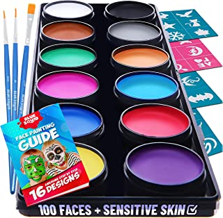 Blue Squid Kit de Pintura Facial para Niños - 30 Plantillas 12 Colores Lavables 3 Pinceles - Pintura de Cara de Calidad Profesional - Segura y para Pieles Sensibles - Maquillaje Halloween y Disfraces