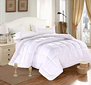 Duvet Insert Luxury Down Alternative Quilted Reversible Comforter/Bedspread Ultra Fluffy w/Plush Polyester Fill Medium weight 7.61 lb All Year Use Box Stitched Design-White, King 96 by 102 inches