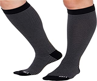 LISH Skinny Stripe Wide Calf Compression Socks - Graduated 15-25 mmHg Knee High Striped Plus Size Support Stockings